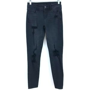 AEO Jegging jeans skinny ripped holes wash black